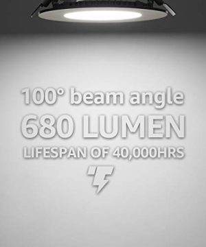 TORCHSTAR Premium 105W 4 Inch Ultra Thin LED Recessed Light With J Box 5000K Daylight Dimmable Slim Panel Downlight 680lm ETL Energy Star 5 Years Warranty Satin Nickel Pack Of 6 0 3 300x360