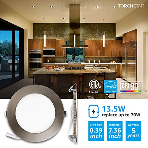 TORCHSTAR Premium 135W 6 Inch Ultra Thin LED Recessed Light With J Box 4000K Cool White Dimmable Slim Panel Downlight 850lm ETL Energy Star 5 Years Warranty Satin Nickel Pack Of 6 0