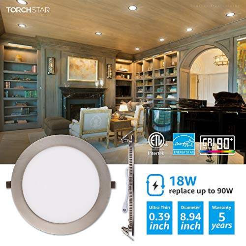 TORCHSTAR Premium 18W 8 Inch Ultra Thin LED Recessed Light With J Box 3000K Warm White Dimmable Slim Panel Downlight 1250lm ETL Energy Star 5 Years Warranty Satin Nickel Pack Of 6 0