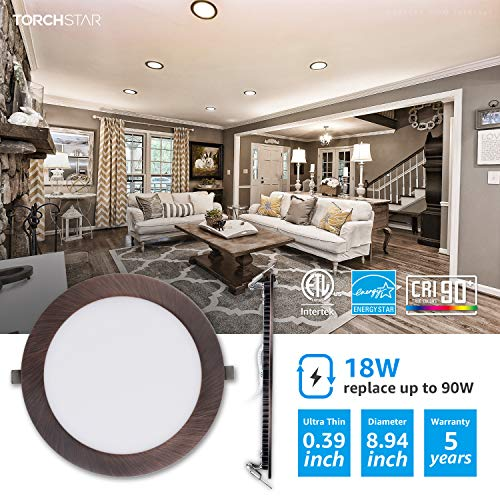 TORCHSTAR Premium 18W 8 Inch Ultra Thin LED Recessed Light With J Box 4000K Cool White Dimmable Slim Panel Downlight 1250lm ETL Energy Star 5 Years Warranty Oil Rubbed Bronze Pack Of 6 0