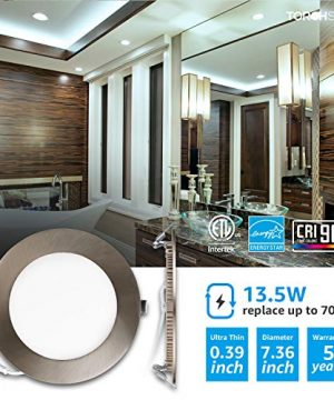 TORCHSTAR Premium 6 Inch Slim Panel Downlight With J Box 135W Dimmable Ultra Thin LED Recessed Light 5000K Daylight 850lm ETL Energy Star 5 Year Warranty Satin Nickel Pack Of 6 0 0 300x360