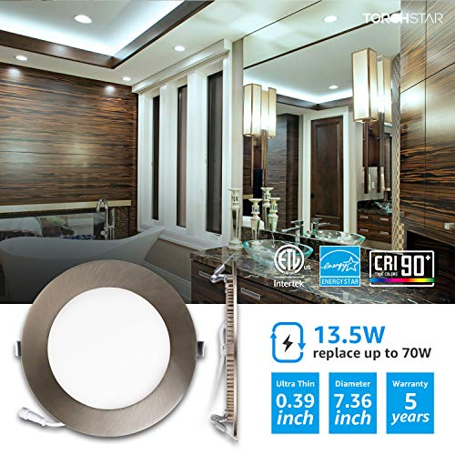 TORCHSTAR Premium 6 Inch Slim Panel Downlight With J Box 135W Dimmable Ultra Thin LED Recessed Light 5000K Daylight 850lm ETL Energy Star 5 Year Warranty Satin Nickel Pack Of 6 0 0