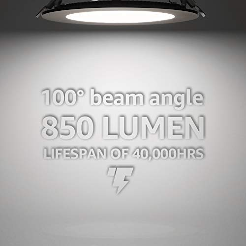 TORCHSTAR Premium 6 Inch Slim Panel Downlight With J Box 135W Dimmable Ultra Thin LED Recessed Light 5000K Daylight 850lm ETL Energy Star 5 Year Warranty Satin Nickel Pack Of 6 0 2