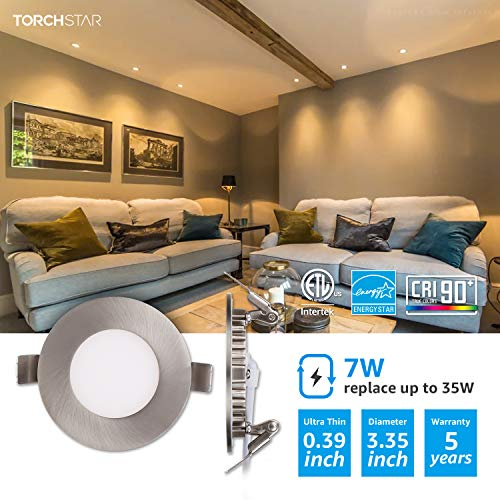 TORCHSTAR Premium 7W 3 Inch Ultra Thin LED Recessed Light With J Box 3000K Warm White Dimmable Slim Panel Downlight 400lm ETL Energy Star 5 Years Warranty Satin Nickel Finish Pack Of 6 0 0