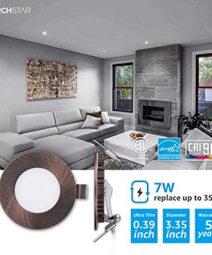 TORCHSTAR Premium 7W 3 Inch Ultra Thin LED Recessed Light With J Box 5000K Daylight Dimmable Slim Panel Downlight 400lm ETL Energy Star 5 Years Warranty Oil Rubbed Bronze Finish Pack Of 6 0 300x360