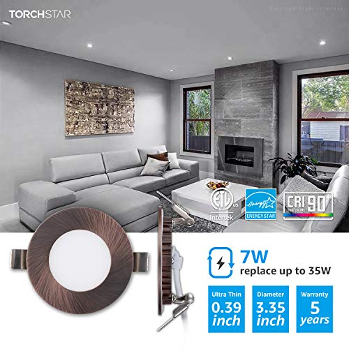 TORCHSTAR Premium 7W 3 Inch Ultra Thin LED Recessed Light With J Box 5000K Daylight Dimmable Slim Panel Downlight 400lm ETL Energy Star 5 Years Warranty Oil Rubbed Bronze Finish Pack Of 6 0