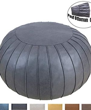 Thgonwid Unstuffed Suede Pouf Footstool Ottoman Handmade Faux Leather Poufs 23 X 14 Round Floor Cushion Footstool For Living Room Bedroom And Wedding Deep Grey 0 300x360