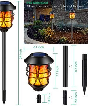 TomCare Solar Lights Metal Flickering Flame Solar Torches Lights Waterproof Outdoor Heavy Duty Lighting Solar Pathway Lights Landscape Lighting Dusk To Dawn Auto OnOff For Garden Patio Yard 4 Pack 0 1 300x360