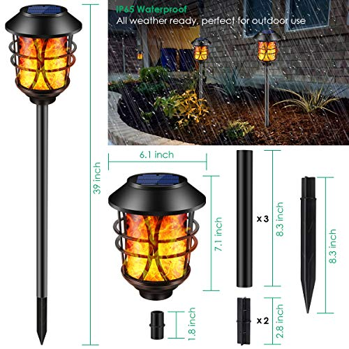 TomCare Solar Lights Metal Flickering Flame Solar Torches Lights Waterproof Outdoor Heavy Duty Lighting Solar Pathway Lights Landscape Lighting Dusk To Dawn Auto OnOff For Garden Patio Yard 4 Pack 0 1