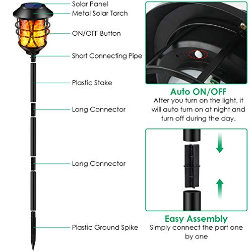 TomCare Solar Lights Metal Flickering Flame Solar Torches Lights Waterproof Outdoor Heavy Duty Lighting Solar Pathway Lights Landscape Lighting Dusk To Dawn Auto OnOff For Garden Patio Yard 4 Pack 0 2