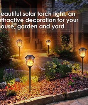 TomCare Solar Lights Metal Flickering Flame Solar Torches Lights Waterproof Outdoor Heavy Duty Lighting Solar Pathway Lights Landscape Lighting Dusk To Dawn Auto OnOff For Garden Patio Yard 4 Pack 0 3 300x360