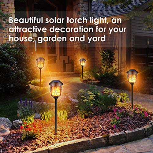 TomCare Solar Lights Metal Flickering Flame Solar Torches Lights Waterproof Outdoor Heavy Duty Lighting Solar Pathway Lights Landscape Lighting Dusk To Dawn Auto OnOff For Garden Patio Yard 4 Pack 0 3