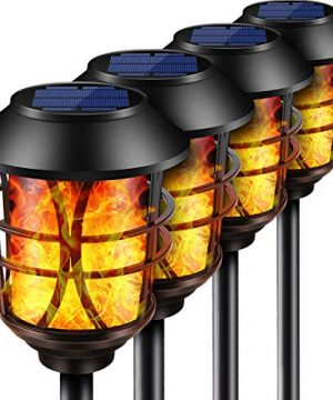 TomCare Solar Lights Metal Flickering Flame Solar Torches Lights Waterproof Outdoor Heavy Duty Lighting Solar Pathway Lights Landscape Lighting Dusk To Dawn Auto OnOff For Garden Patio Yard 4 Pack 0 300x360