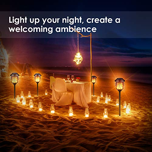 TomCare Solar Lights Metal Flickering Flame Solar Torches Lights Waterproof Outdoor Heavy Duty Lighting Solar Pathway Lights Landscape Lighting Dusk To Dawn Auto OnOff For Garden Patio Yard 4 Pack 0 4
