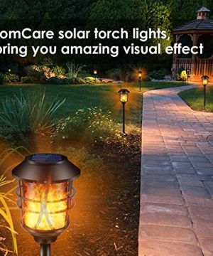TomCare Solar Lights Metal Flickering Flame Solar Torches Lights Waterproof Outdoor Heavy Duty Lighting Solar Pathway Lights Landscape Lighting Dusk To Dawn Auto OnOff For Garden Patio Yard 4 Pack 0 5 300x360