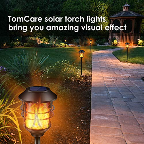 TomCare Solar Lights Metal Flickering Flame Solar Torches Lights Waterproof Outdoor Heavy Duty Lighting Solar Pathway Lights Landscape Lighting Dusk To Dawn Auto OnOff For Garden Patio Yard 4 Pack 0 5