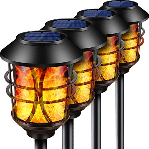 TomCare Solar Lights Metal Flickering Flame Solar Torches Lights Waterproof Outdoor Heavy Duty Lighting Solar Pathway Lights Landscape Lighting Dusk To Dawn Auto OnOff For Garden Patio Yard 4 Pack 0