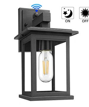 Upgrade Dusk To Dawn Sensor Outdoor Wall Lanterns Exterior Wall Sconce Porch Light Fixture With E26 Socket 100 Anti Rust Waterproof Matte Black Wall Mount Lamp With Clear Glass For Entryway Garage 0 300x360