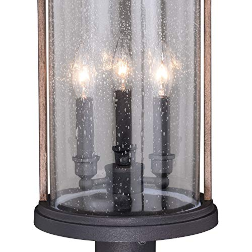 VAXCEL Bronze Outdoor Post Light Dusk To Dawn Post Light Outdoor Lamp Post Light Fixture Photocell Sensor Dark Bronze And Burnished Oak Wood Accents For Farmhouse And Rustic Decor 0 1
