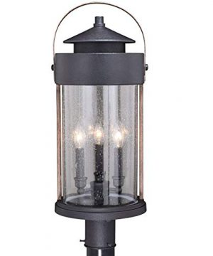 VAXCEL Bronze Outdoor Post Light Dusk To Dawn Post Light Outdoor Lamp Post Light Fixture Photocell Sensor Dark Bronze And Burnished Oak Wood Accents For Farmhouse And Rustic Decor 0 300x360