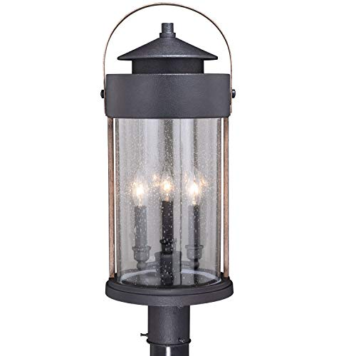 VAXCEL Bronze Outdoor Post Light Dusk To Dawn Post Light Outdoor Lamp Post Light Fixture Photocell Sensor Dark Bronze And Burnished Oak Wood Accents For Farmhouse And Rustic Decor 0