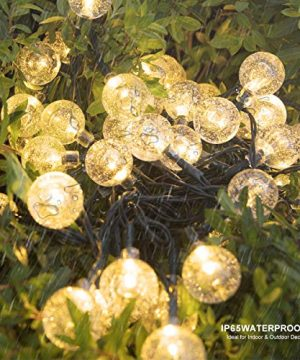 Vindany Outdoor Solar String Lights 60 LED Decorative Fairy Lights String Light Solar Crystal Globe Waterproof Party Lights For Christmas Garden Wedding 0 3 300x360