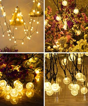 Vindany Outdoor Solar String Lights 60 LED Decorative Fairy Lights String Light Solar Crystal Globe Waterproof Party Lights For Christmas Garden Wedding 0 5 300x360