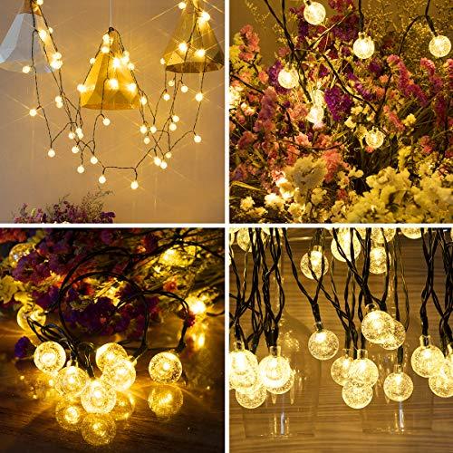 Vindany Outdoor Solar String Lights 60 LED Decorative Fairy Lights String Light Solar Crystal Globe Waterproof Party Lights For Christmas Garden Wedding 0 5