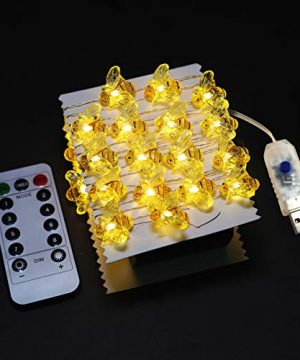 WSgift Honeybee Decorative String Lights 187 Ft 40 LED USB Plug In Copper Wire Bee Fairy Lights For Various Decoration Projects Warm White Remote Control With Timer 0 0 300x360