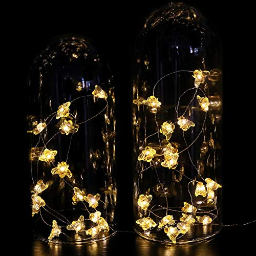 WSgift Honeybee Decorative String Lights 187 Ft 40 LED USB Plug In Copper Wire Bee Fairy Lights For Various Decoration Projects Warm White Remote Control With Timer 0 1