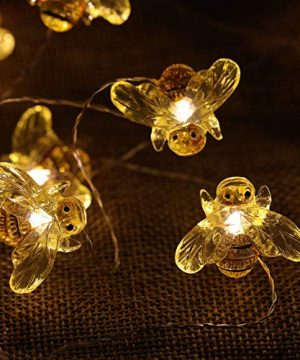 WSgift Honeybee Decorative String Lights 187 Ft 40 LED USB Plug In Copper Wire Bee Fairy Lights For Various Decoration Projects Warm White Remote Control With Timer 0 2 300x360