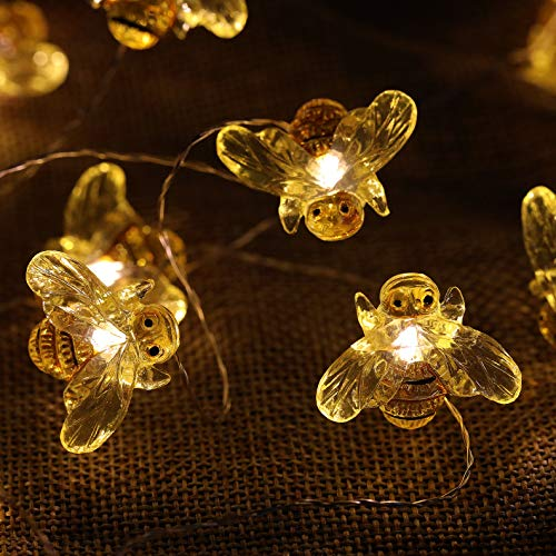 WSgift Honeybee Decorative String Lights 187 Ft 40 LED USB Plug In Copper Wire Bee Fairy Lights For Various Decoration Projects Warm White Remote Control With Timer 0 2