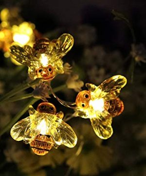 WSgift Honeybee Decorative String Lights 187 Ft 40 LED USB Plug In Copper Wire Bee Fairy Lights For Various Decoration Projects Warm White Remote Control With Timer 0 3 300x360