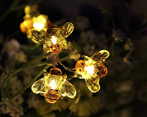 WSgift Honeybee Decorative String Lights 187 Ft 40 LED USB Plug In Copper Wire Bee Fairy Lights For Various Decoration Projects Warm White Remote Control With Timer 0 3