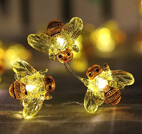 WSgift Honeybee Decorative String Lights 187 Ft 40 LED USB Plug In Copper Wire Bee Fairy Lights For Various Decoration Projects Warm White Remote Control With Timer 0