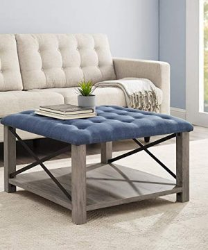 Walker Edison Furniture Company Tufted Upholstered Fabric Ottoman Stool Living Room Foot Rest Coffee Table Storage Shelf 30 Inch Blue 0 300x360