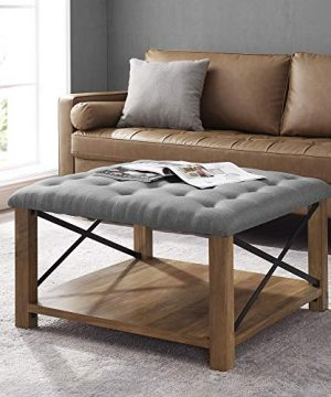 Walker Edison Tufted Upholstered Fabric Ottoman Stool Living Room Foot Rest Coffee Table Storage Shelf 30 Inch Grey 0 300x360