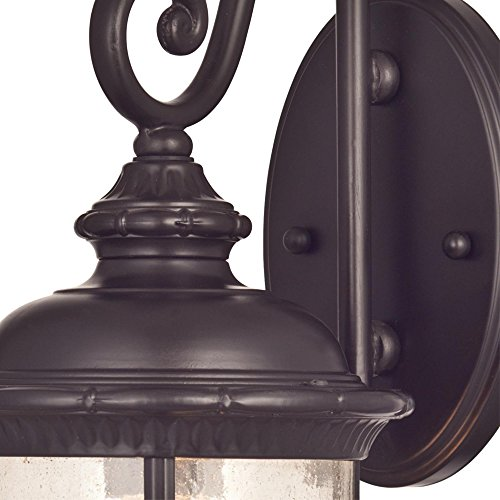 Westinghouse Lighting 6230600 New Haven One Light Exterior Wall Lantern On Steel With Clear Seeded Glass Oil Rubbed Bronze Finish 0 0