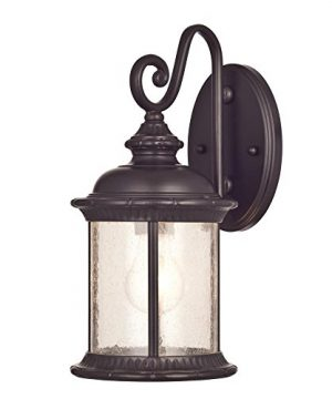 Westinghouse Lighting 6230600 New Haven One Light Exterior Wall Lantern On Steel With Clear Seeded Glass Oil Rubbed Bronze Finish 0 300x360