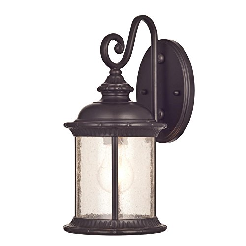 Westinghouse Lighting 6230600 New Haven One Light Exterior Wall Lantern On Steel With Clear Seeded Glass Oil Rubbed Bronze Finish 0