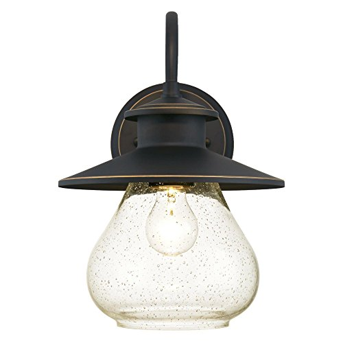 Westinghouse Lighting 6313500 Delmont One Light Outdoor Wall Fixture Oil Rubbed Bronze Finish With Highlights With Clear Seeded Glass 0 0