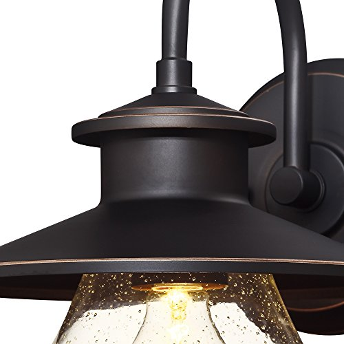 Westinghouse Lighting 6313500 Delmont One Light Outdoor Wall Fixture Oil Rubbed Bronze Finish With Highlights With Clear Seeded Glass 0 1