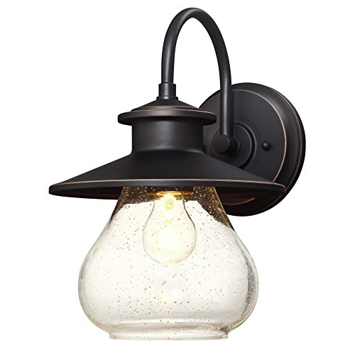 Westinghouse Lighting 6313500 Delmont One Light Outdoor Wall Fixture Oil Rubbed Bronze Finish With Highlights With Clear Seeded Glass 0