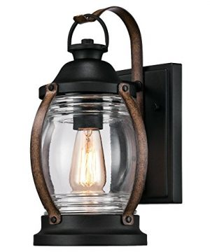 Westinghouse Lighting 6335100 Canyon One Light Outdoor Wall Fixture Textured Black And Barnwood Finish With Clear Glass 0 300x360