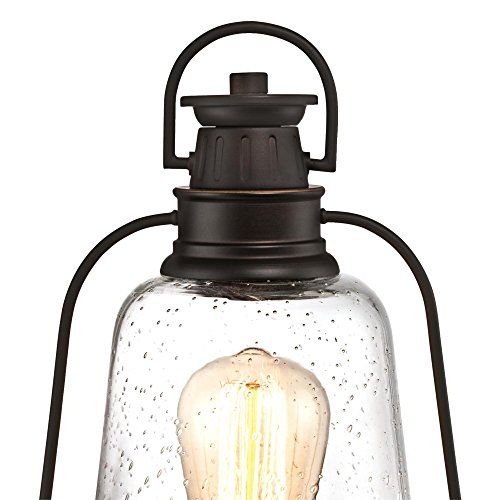 Westinghouse Lighting 6347000 Brynn One Light Outdoor Post Top Fixture Oil Rubbed Bronze Finish With Highlights And Clear Seeded Glass 0 1