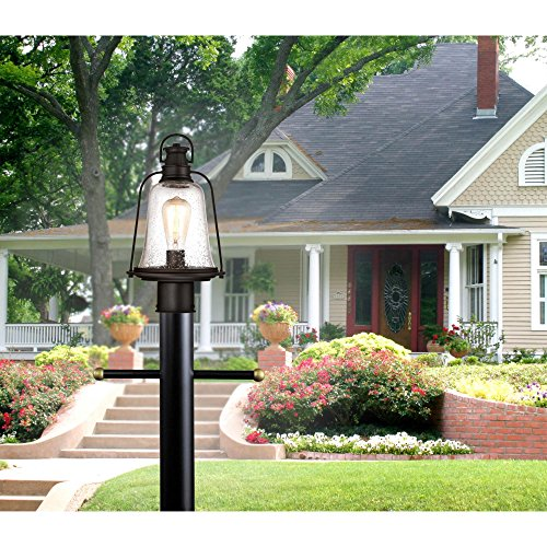 Westinghouse Lighting 6347000 Brynn One Light Outdoor Post Top Fixture Oil Rubbed Bronze Finish With Highlights And Clear Seeded Glass 0 3