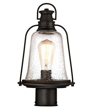 Westinghouse Lighting 6347000 Brynn One Light Outdoor Post Top Fixture Oil Rubbed Bronze Finish With Highlights And Clear Seeded Glass 0 300x360