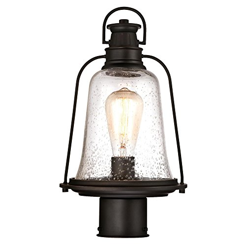 Westinghouse Lighting 6347000 Brynn One Light Outdoor Post Top Fixture Oil Rubbed Bronze Finish With Highlights And Clear Seeded Glass 0