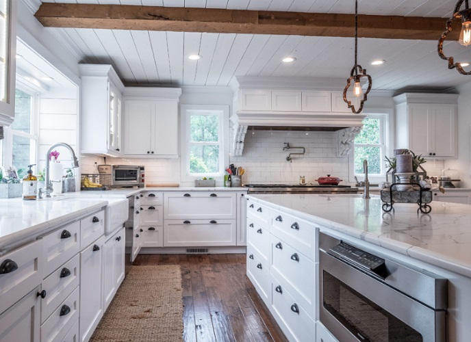 White Farmhouse Kitchen by GJK Building & Remodeling