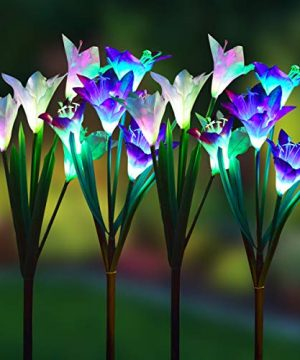 Wohome Outdoor Solar Garden Stake Lights4 Pack Solar Powered Lights With 16 Lily Flower Multi Color Changing LED Solar Landscape Lighting Light For Garden Patio 0 300x360